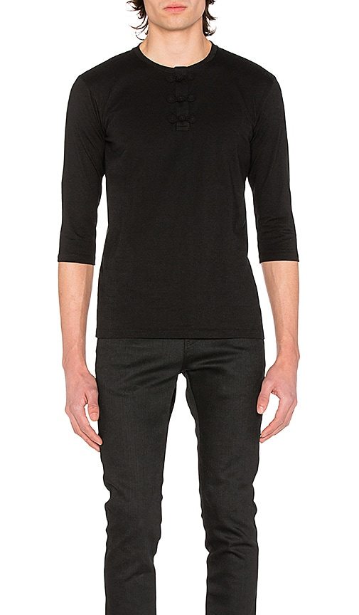 CLOT Chinese Henley 3/4 Tee in Black