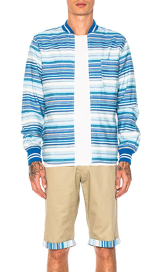 CLOT Ribbed Zip Up Shirt in Blue