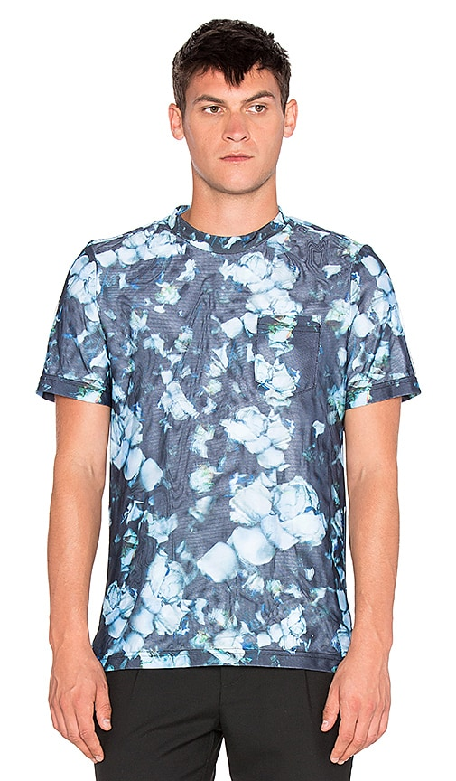 Clover Canyon Night Blooms 3D Mesh Tee in Blue