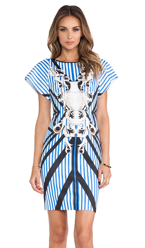 Striped Sculpture Neoprene Dress