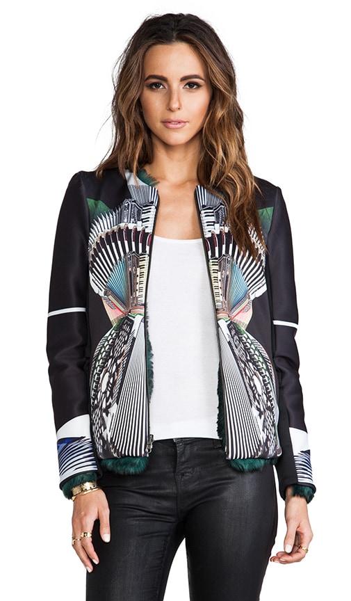 Accordian Dance Neoprene Jacket with Faux Fur