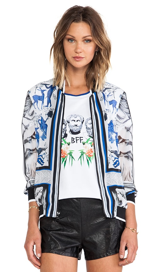 Marble Party Chiffon Bomber Jacket