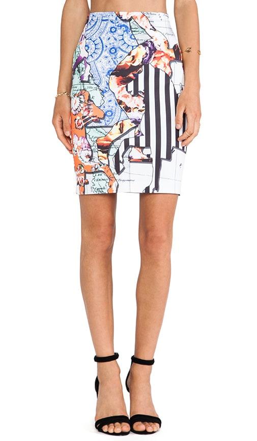 Floral Silhouettes Neoprene Skirt
