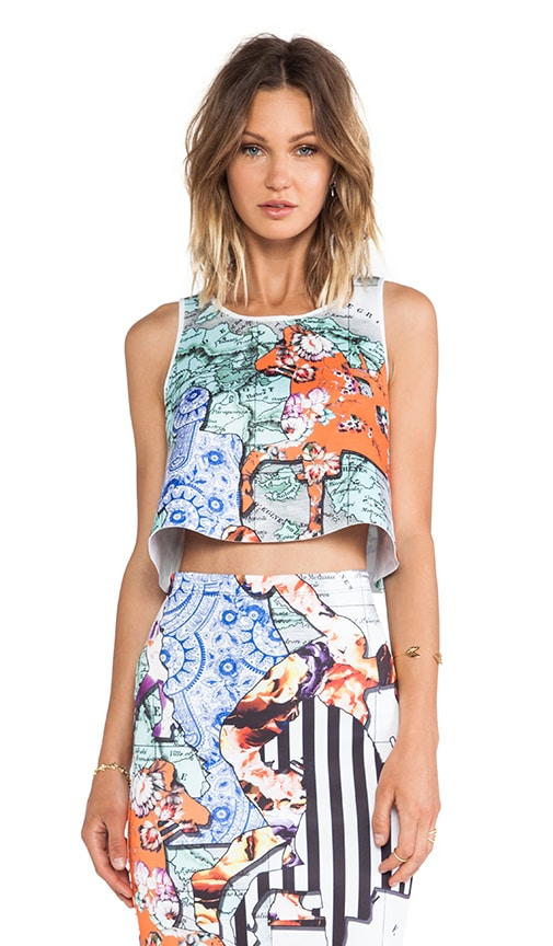 Floral Silhouettes Neoprene Crop Top