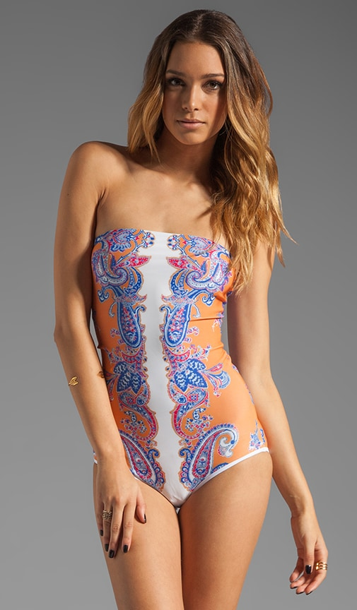 Bordered Paisley Strapless One Piece