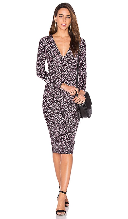Clayton Flora Crepe Eisley Dress in Black