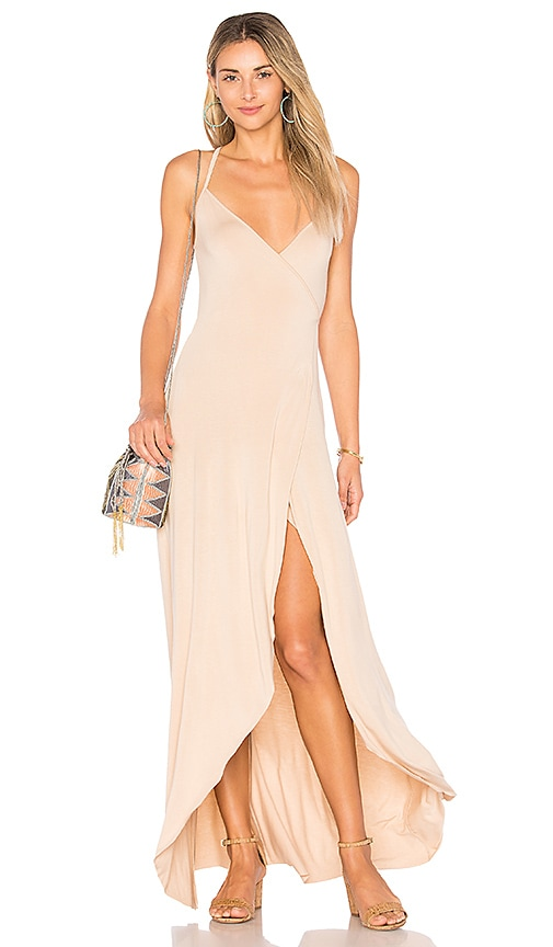 Clayton Dita Wrap Maxi Dress in Beige