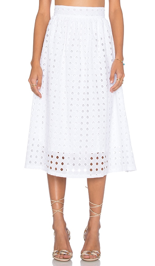 Clayton Vernon Eyelet Skirt in White