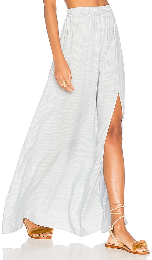 Clayton Stripe Twill Jen Slit Skirt in White