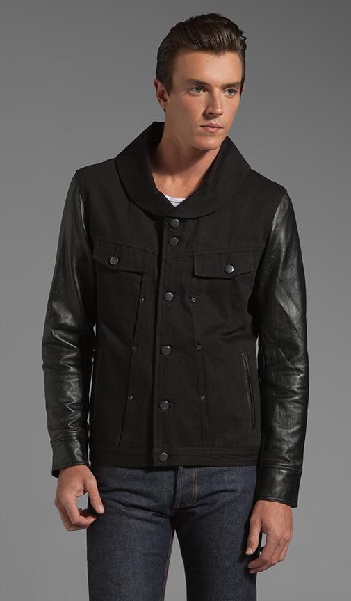 Buffalo Shawl Neck Leather Sleeve Jacket