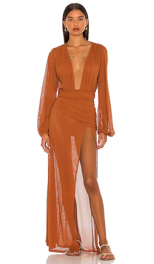 Camila Coelho Kimber Maxi Dress in Hazel Brown | REVOLVE