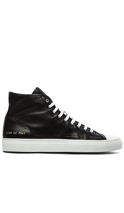 Woman by Common Projects Black & White Tournament High Cap Toe Sneakers dM7ZhBM