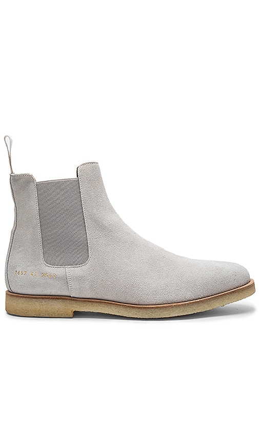 Common Projects Chelsea Suede Boots in Light Gray