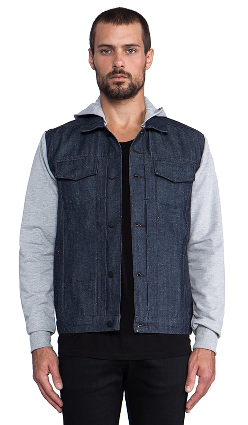 Jay Heather Grey Hoodie Denim Jacket