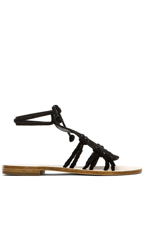 CoRNETTI Amalfi Suede T Strap Sandals in Black