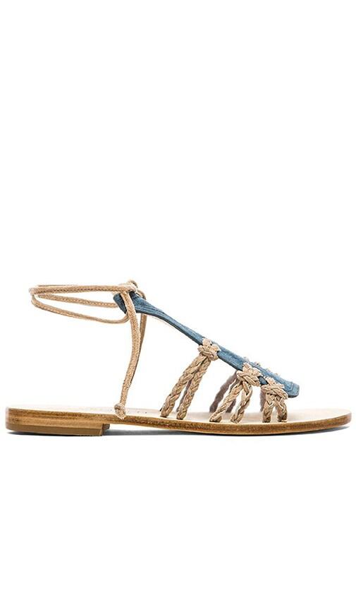 CoRNETTI Amalfi Suede T Strap Sandal in Blue & Beige