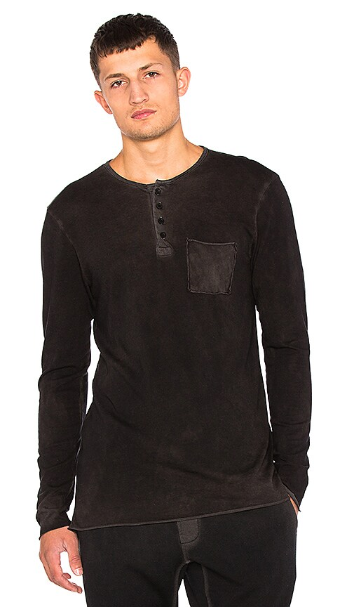 COTTON CITIZEN The Jagger Henley in Black