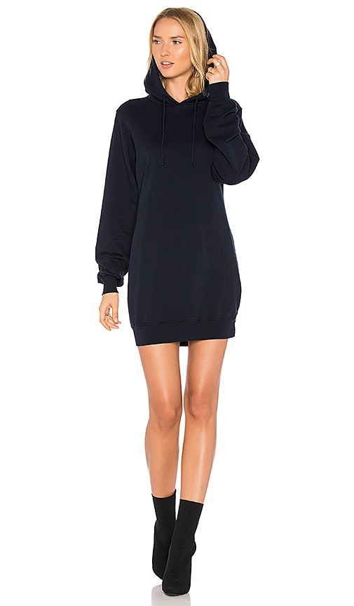 COTTON CITIZEN The Milan Backless Hoodie Dress in Navy