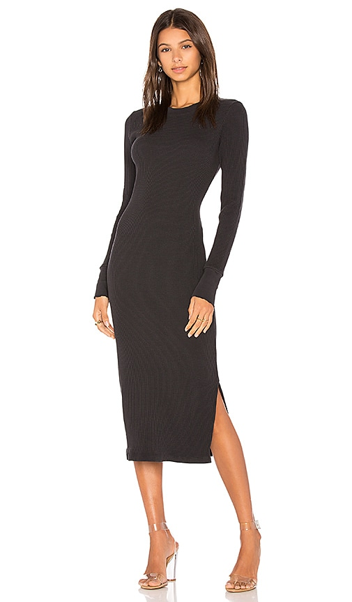 COTTON CITIZEN The Monaco Thermal Midi Dress in Charcoal