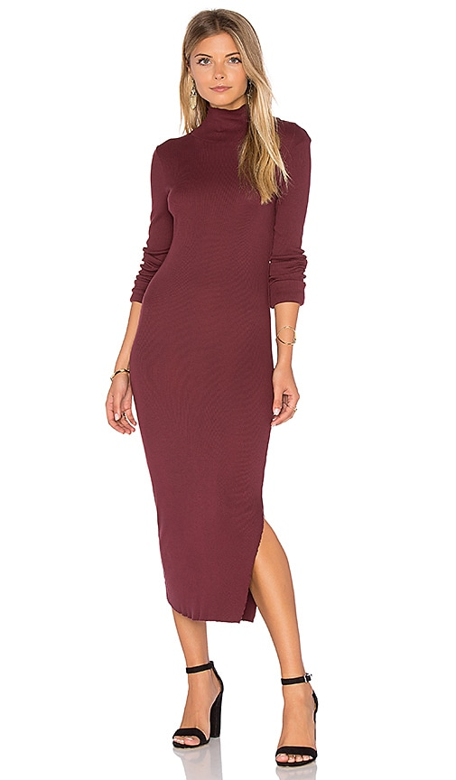 COTTON CITIZEN Melbourne Midi Dress in Burgundy