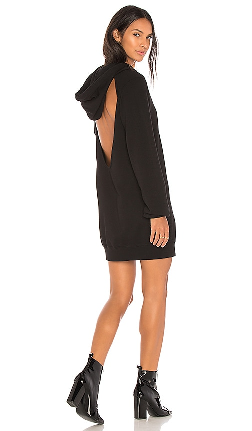 COTTON CITIZEN The Milan Backless Hoodie Dress in Black