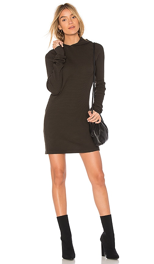 COTTON CITIZEN The Monaco Thermal Hoodie Mini Dress in Olive