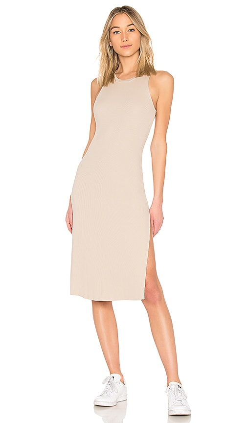 COTTON CITIZEN Melbourne Tank Midi Dress With Slit in Tan