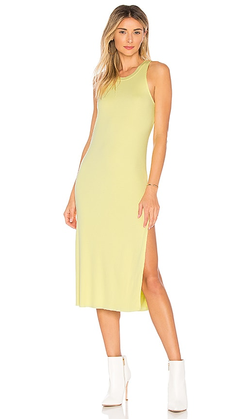 COTTON CITIZEN Melbourne Tank Midi Dress With Slit in Lemon