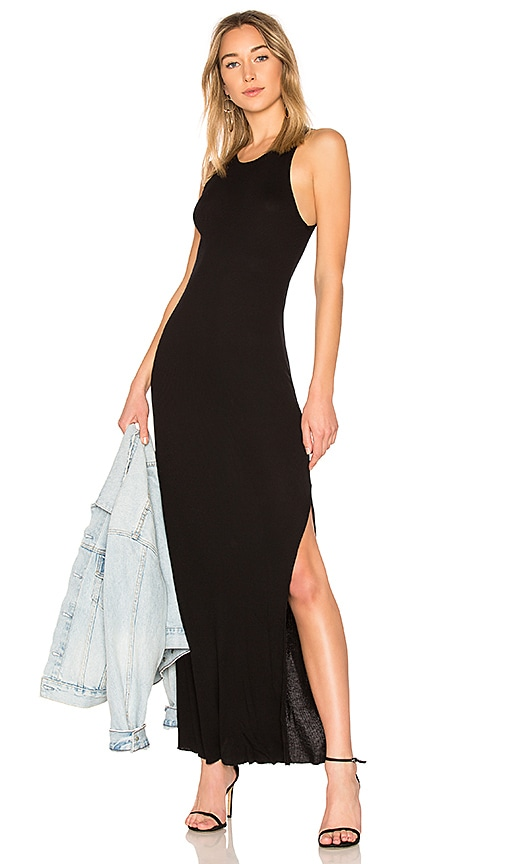 COTTON CITIZEN Melbourne Tank Midi Dress With Slit in Black