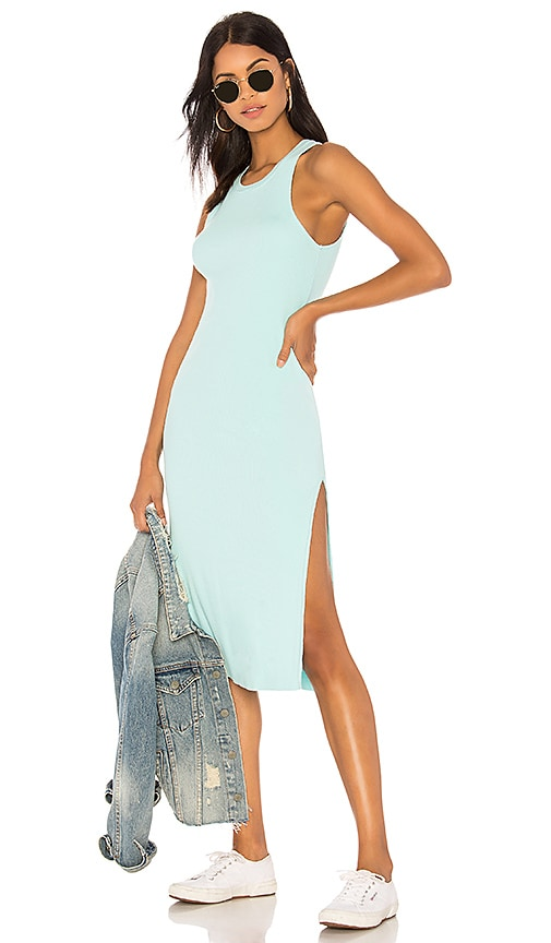 COTTON CITIZEN Melbourne Tank Midi Dress With Slit in Teal