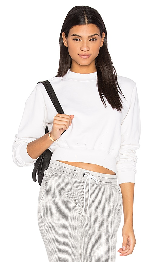 COTTON CITIZEN The Milan Cropped Sweatshirt in White