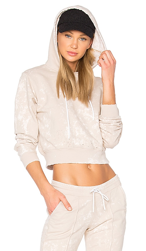 COTTON CITIZEN The Milan Cropped Pullover Hoodie in Beige