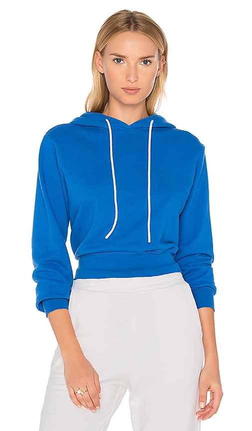 COTTON CITIZEN The Milan Cropped Hoodie in Blue