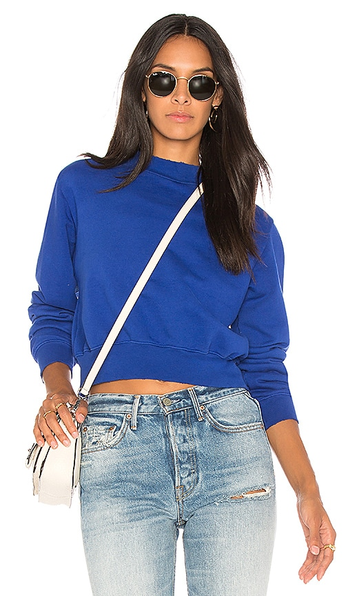 COTTON CITIZEN The Milan Cropped Sweatshirt in Blue