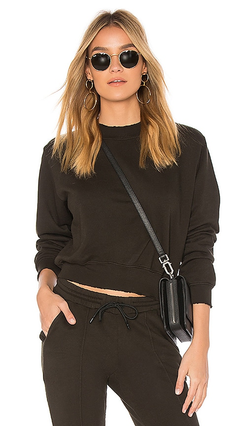 COTTON CITIZEN The Milan Cropped Sweatshirt in Olive