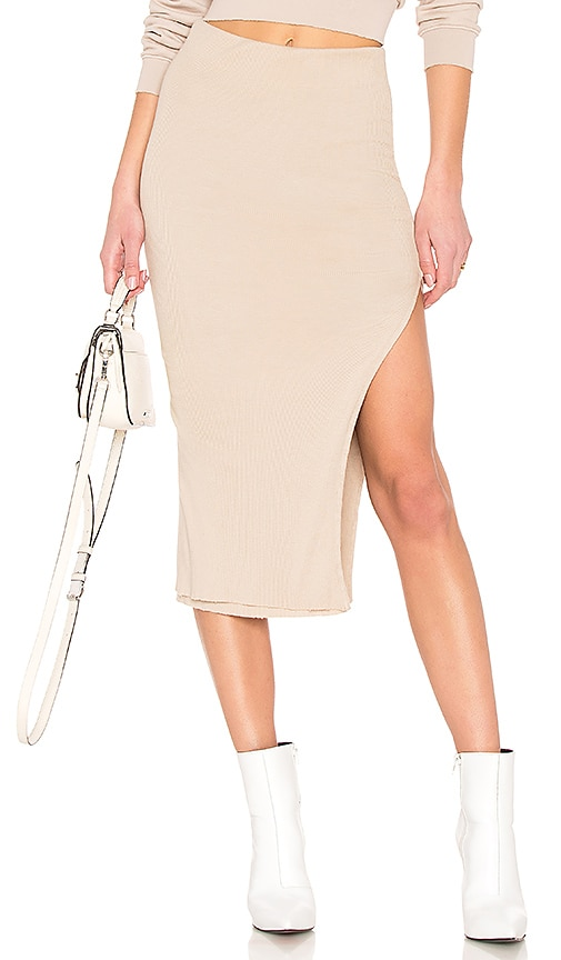 COTTON CITIZEN Melbourne Midi Skirt With Slit in Tan
