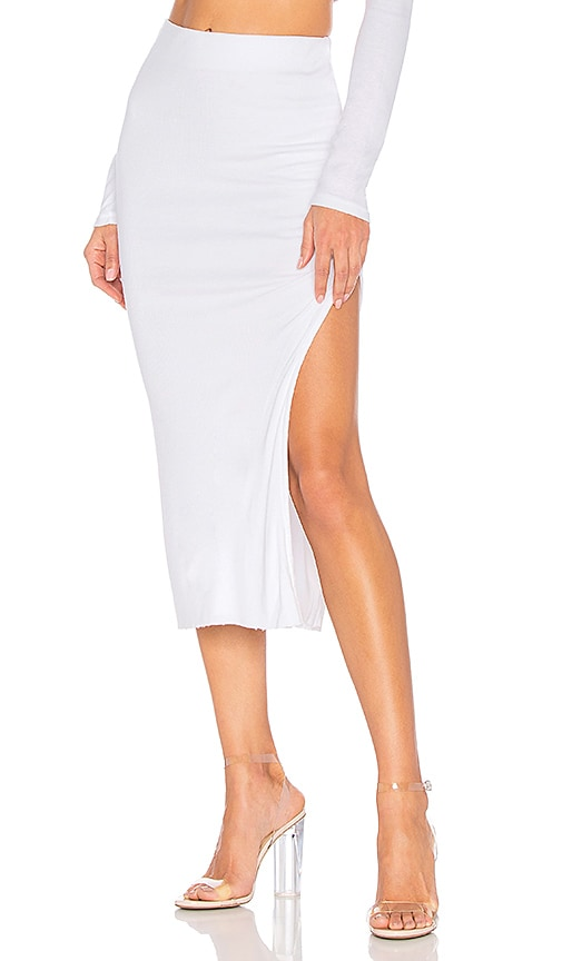 COTTON CITIZEN Melbourne Midi Skirt With Slit in White