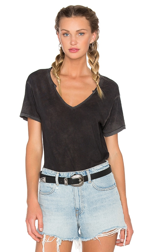 COTTON CITIZEN Marbella V Neck Tee in Black