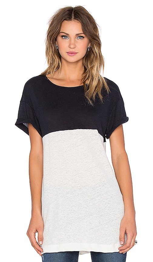Craft & Commerce Colorblock Tee in White & Black