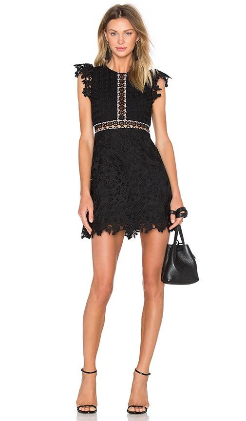 Cynthia Rowley Wild Flower & Geo Lace Mini Dress in Black