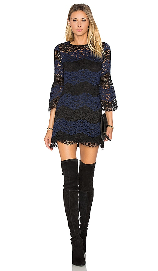 Cynthia Rowley Striped Lace Mini Dress in Navy