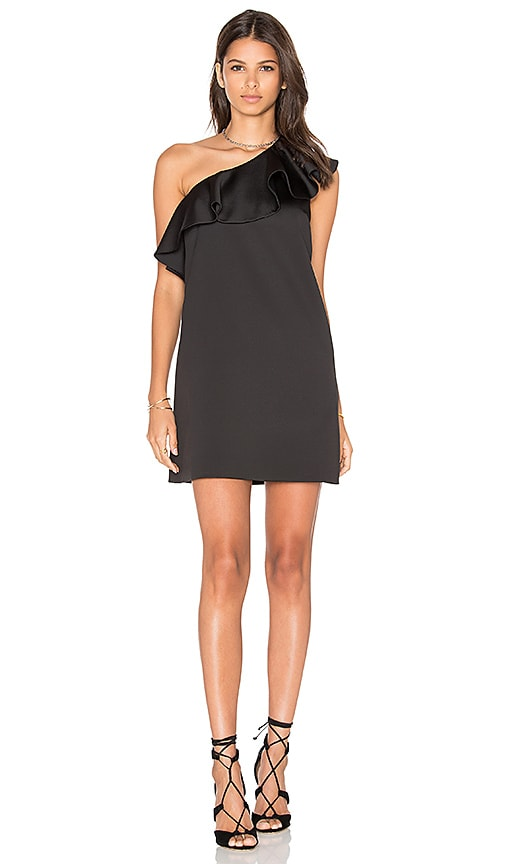 Cynthia Rowley Satin Ruffle Mini Dress in Black