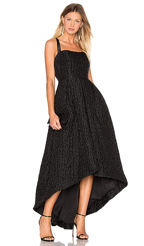 Cynthia Rowley Jacquard High Low Gown in Black | REVOLVE