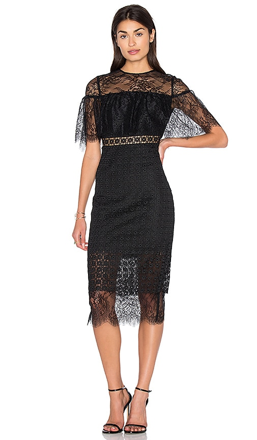Cynthia Rowley Fitted Midi Dress in Black