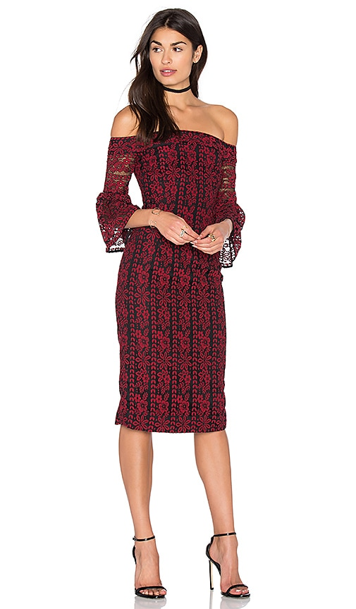 Cynthia Rowley Lace Off The Shoulder Dress in Red