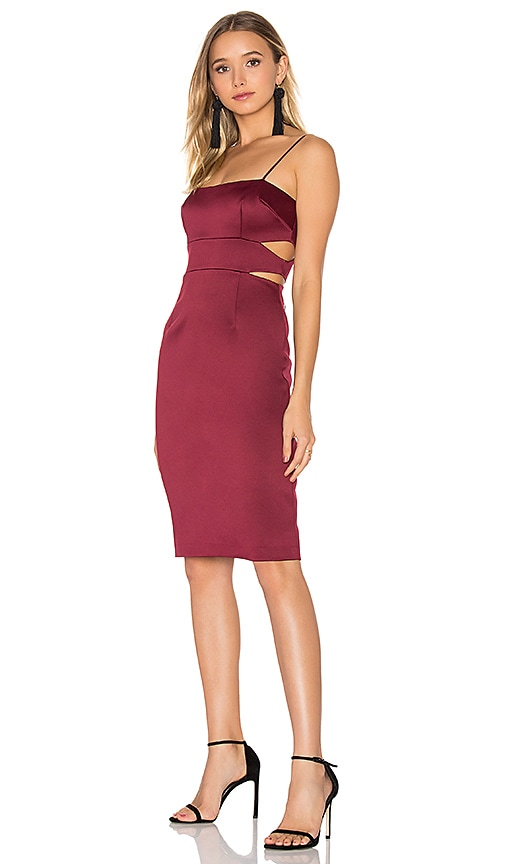 Cynthia Rowley Bonded Cut Out Dress in Burgundy