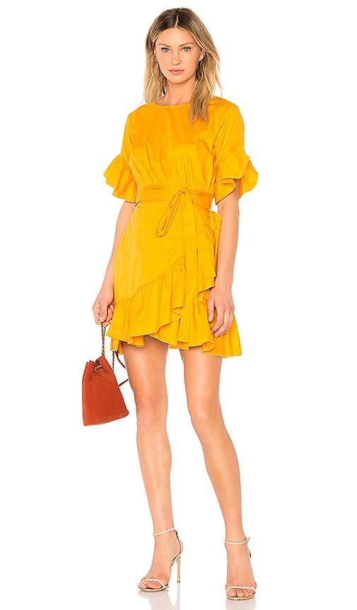 Cynthia Rowley Ruffle Mini Tie Dress in Mustard