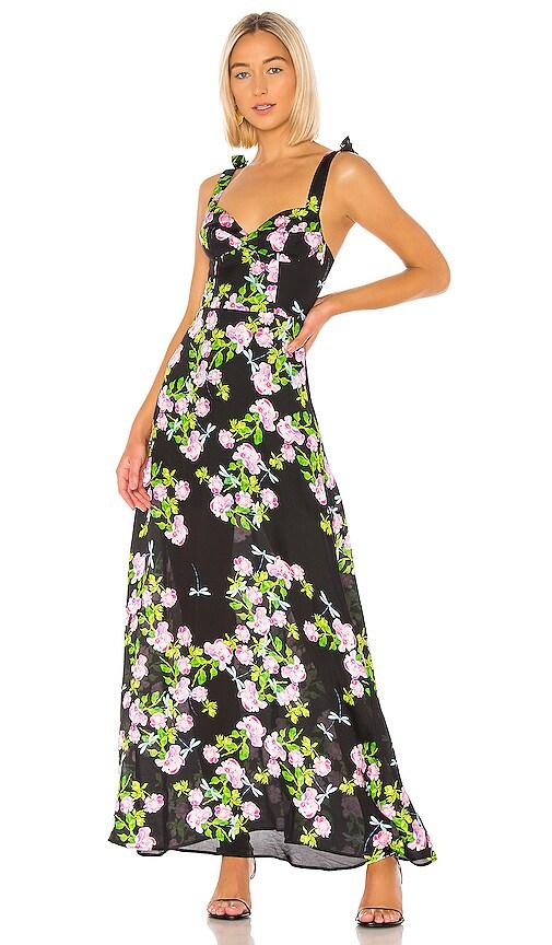 Ten Rose Silk Maxi Dress