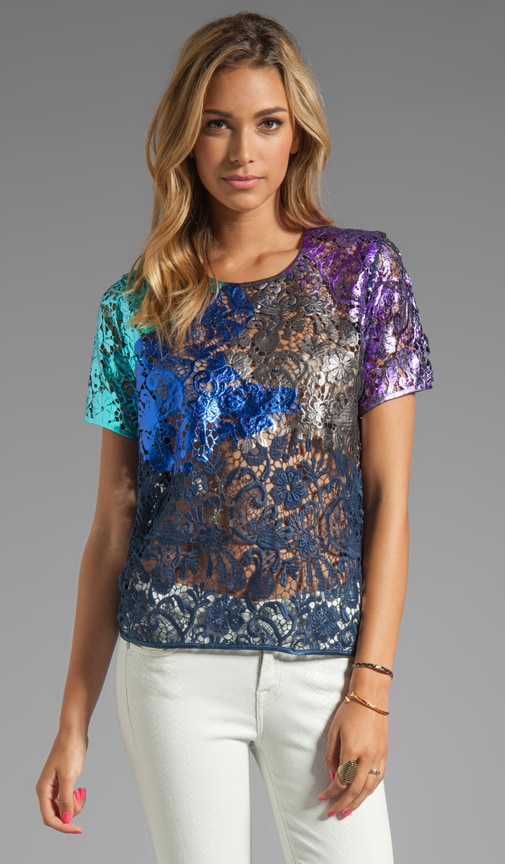 Foiled Lace T-Shirt Top
