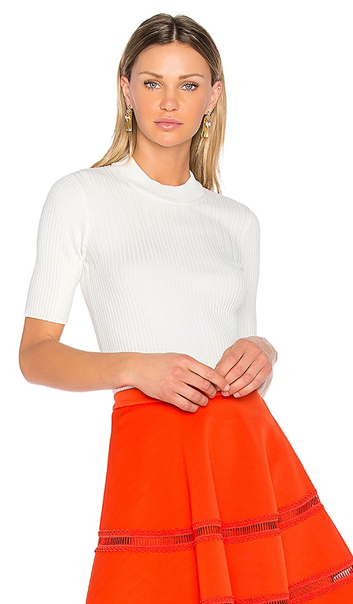 Carven Ribbed Knit Top in White